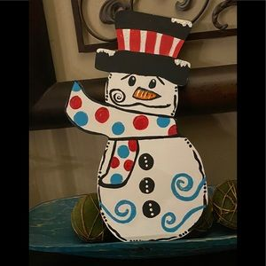 Wooden door hanger snowman double sided